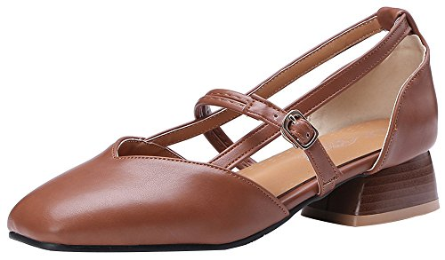 Square Toe Buckle - Mofri Women's Trendy Square Toe Buckle Strap Cut Out Low Block Heels Sandals (Brown, 8 B(M) US)
