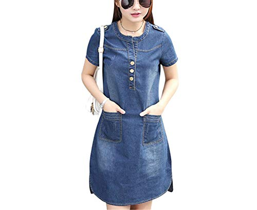 Women Summer Slim A Line Dress Short Sleeve O-Neck Denim Dress Casual Female Dress Clothes Vestidos,XX-La]()