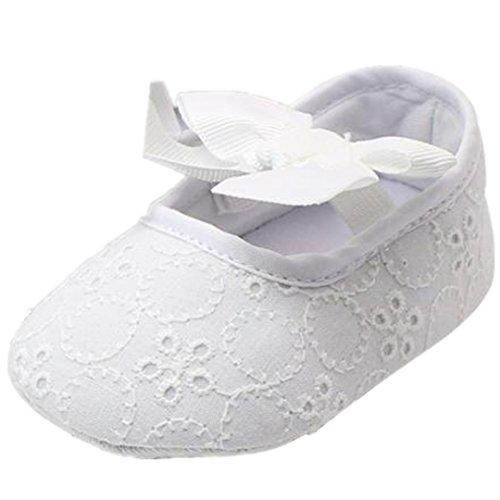 Clode® Baby Girl Baumwolle Bowknotschuhe Kleinkind Turnschuhe Freizeitschuhe ;weiche alleinigen Schuhe;Prinzessin Schuhe (12, Weiß)