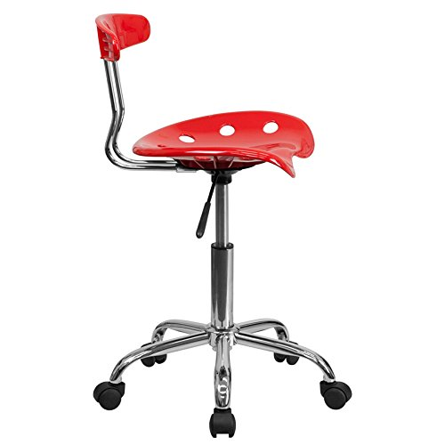StarSun Depot Vibrant Red and Chrome Swivel Task Chair with Tractor Seat 17'' W x 16.5'' D x 29.25'' - 34.75'' H
