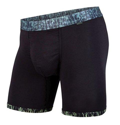Boxer Brief Premium Underwear with Pouch, Black Bamboo/Black, Medium (Bamboo Blend Boxer)