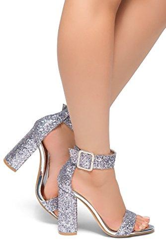 ors-Glitter, Chunky Heel, Ankle Strap Silver Glitter 7.5 ()