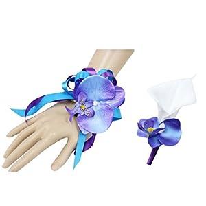 Silk Flower Arrangements Angel Isabella Beautiful Wrist Corsage and Boutonniere Set-Tropical Artificial Keepsake Orchid Calla Lily Malibu Turquoise Purple Theme