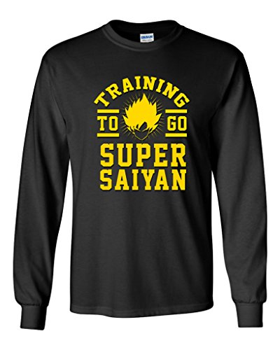 Long Sleeve Adult T-Shirt Training to Go Super Saiyan Anime Funny Parody DT (Medium, Black)]()