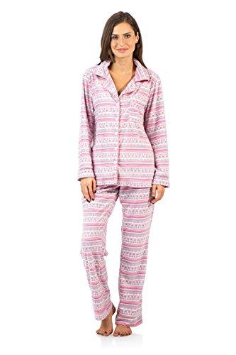 35b066451 Ashford   Brooks Women s Cozy Micro Fleece Pajama Set - Pink Ivory ...