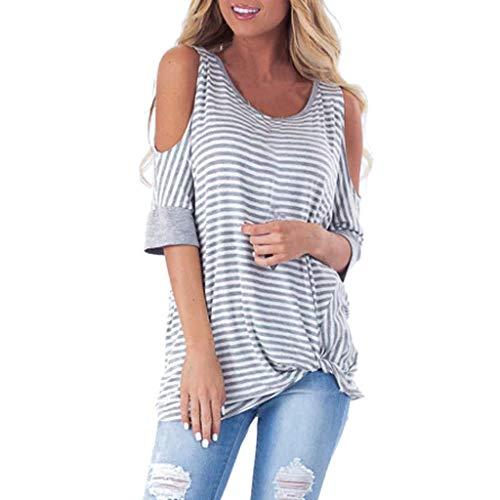 (Sttech1 Women Short Sleeve Dew Shoulder Striped Print Tied Front Tee Blouse T-Shirt Tops Gray)