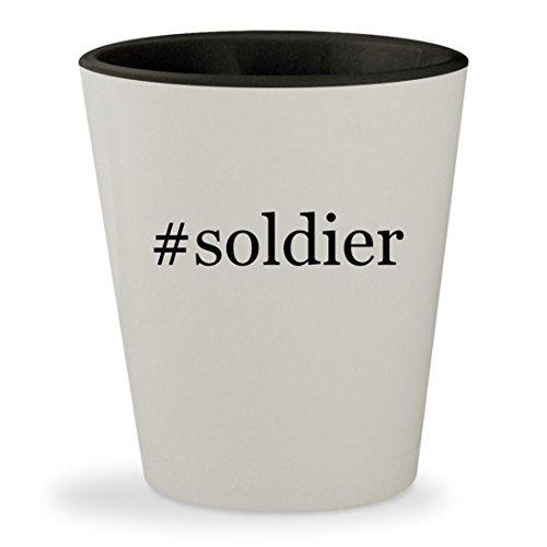 #soldier - Hashtag White Outer & Black Inner Ceramic 1.5oz Shot Glass