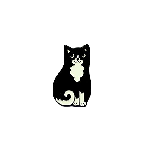 Punky Pins Black & White Cat Enamel Pin Badge - One Size