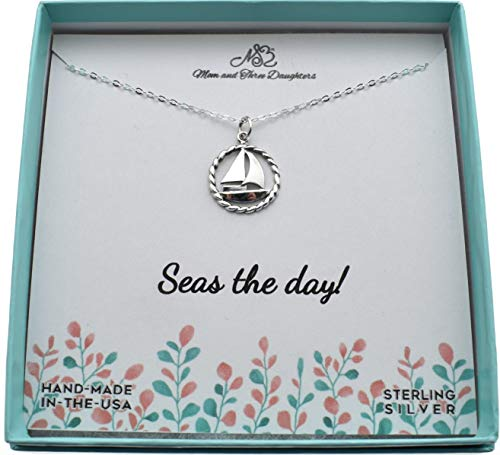 Sailboat necklace in sterling silver on an 18