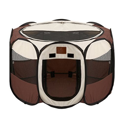 Parkland Pet Portable Foldable Playpen Exercise Kennel Dogs Cats Indoor/outdoor Removable Mesh Shade (Pet Enclosure)