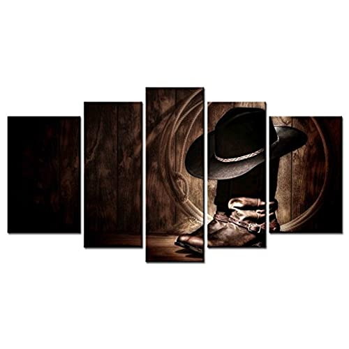Rodeo decor amazon smartwallart figure series home decor artwork american west rodeo cowboy hat and boots wall art 5 piece paintngs print on canvas framed for living room teraionfo