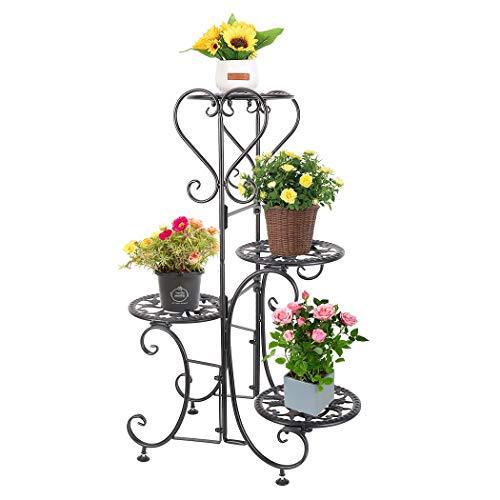 4 Tier Metal Plant Stand Flower Pot Holder Rack for Displaying Small Planters Indoor Outdoor Home Garden, Black