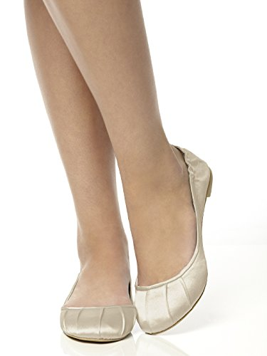 Womens Matte Satin Ballet Flats with Pleated Toe Detail by Dessy Palomino Kr0dzvG