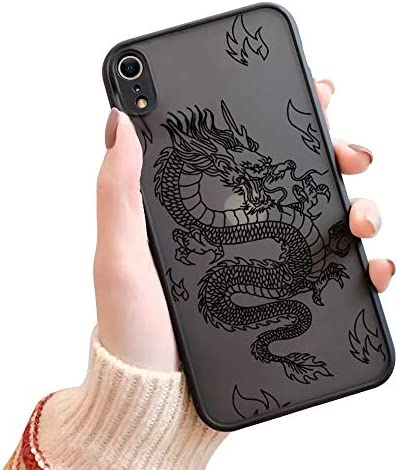 Ownest Compatible with iPhone XR Case for Clear Fashion Animal Dragon Cartoon Pattern Frosted PC Back 3D and Soft TPU Bumper Protective Silicone Shockproof Protective Case for iPhone XR-Black-H