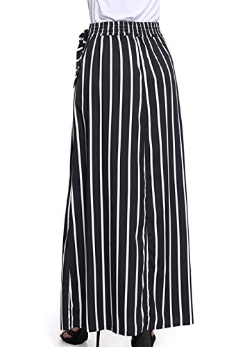 Longue Noir Jupes Plage Maxi Fr Casual Fox ulein Haute Soire Jupe de Bandage avec Femme Fashion Jupe Taille Raye t de IHHxqgwRP