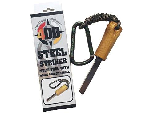4DB Striker Tool Handcrafted Osage Orange Wood Handle High Speed Steel Striker Scraper for Bushcraft Survival Ferrocerium Rod firestarter and Tinder Processing Multi-Tool by 4 Directions Bushcraft