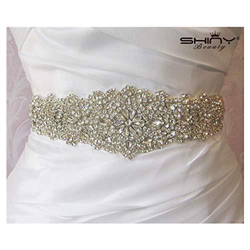 ShinyBeauty Crystal Rhinestone Sash Applique,Diamond Crystal Beaded Applique
