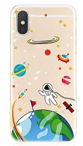 DECO FAIRY Compatible with iPhone XR, Cartoon Anime Astronaut Space View Infinitum UFO Astronaut Galaxy Sun Moon Universe Spaceman Earth Rocket Planet Star Transparent Translucent Flexible Silicone Cover Case