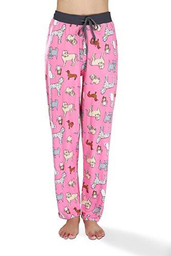 Dog Print Pajama - Victoria Womens Pajama Lounge Pant Pink Smart Dog Print, Size L