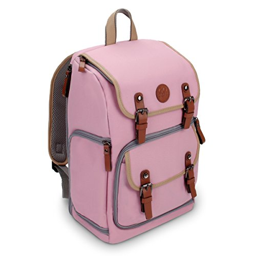 GOgroove Digital SLR Camera Backpack (Mid-Volume Pink) w/Tablet Compartment, Customizable Dividers for Accessory Storage, Tripod Holder and Weatherproof Rain Cover for Canon, Nikon, Olympus & More (Nikon Pink Camera Bag)