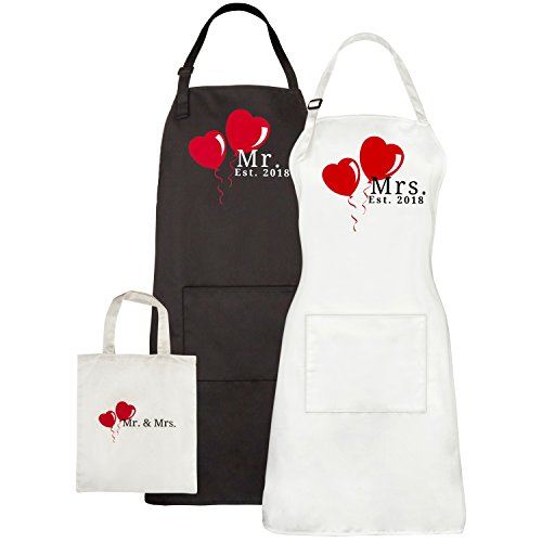 Mr. and Mrs. Est. 2018 Aprons with Pocket and Matching Gi...