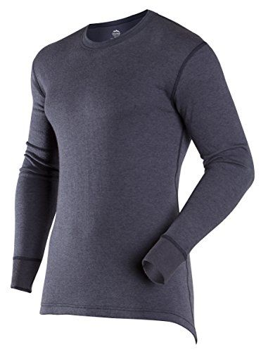 ColdPruf Men's Authentic Dual Layer Long Sleeve Wool Plus Crew Neck Base Layer Top, Navy, Large