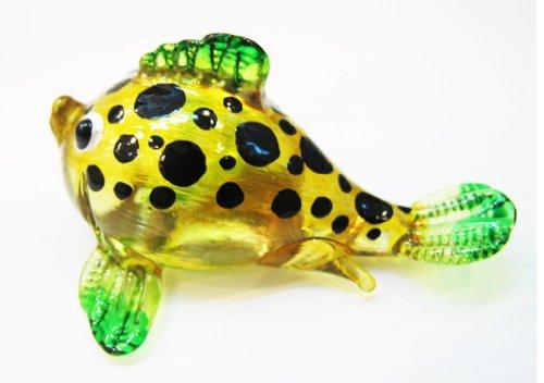 Aquarium Miniature Hand Blown Art Glass Puffer Yellow-Green Figurine Collection