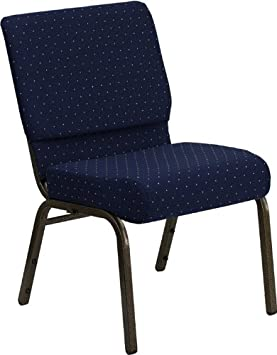 HERCULES Series 21 Extra Wide Stacking Church Chair with 4 Thick Seat Navy Blue Dot Patterned Gold Vein Frame