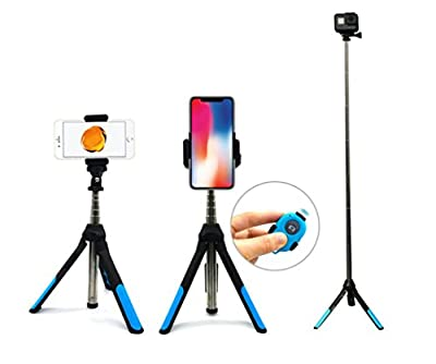 Bluetooth Selfie Stick Tripod, Selfie Stick Bluetooth with Wireless Remote and Tripod Stand for iPhone X/iPhone 8/8 Plus/iPhone 7/iPhone 7 Plus/Galaxy S9/S9 Plus/Note 8/S8/S8 Plus/More