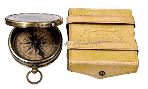 MAH Best Engraved Brass Compass with Leather Case. C 3240