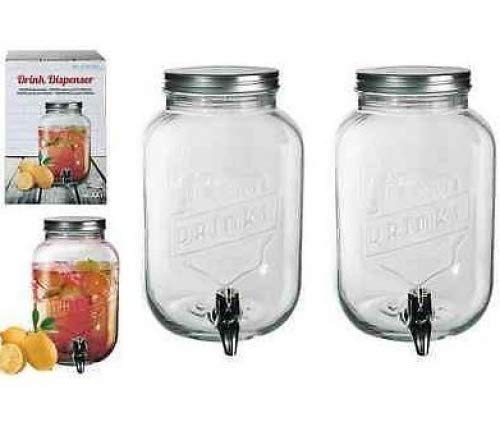 2 x Glass Drink Dispenser For Flavored Water Juice Party Punch Jar + Tap 3.5ltr 7851