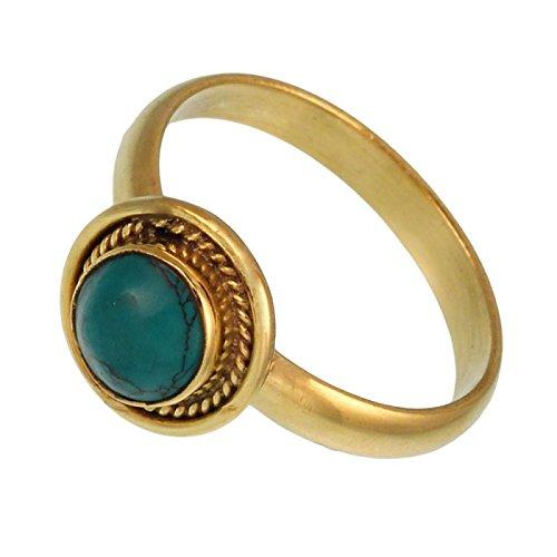 - Brass rings round turquoise braid border antique golden Tribal Gem rings 60 (19.1)