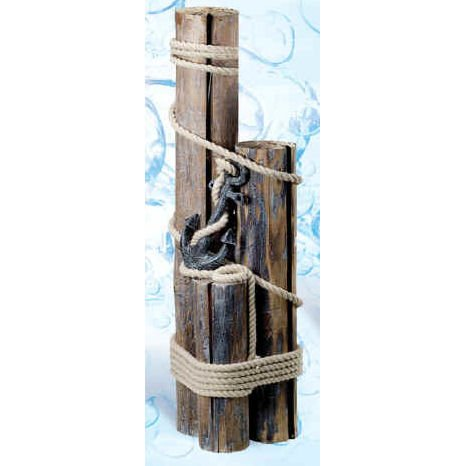 Set of Three Wood Pilings w/ Anchor & Fisherman's Rope