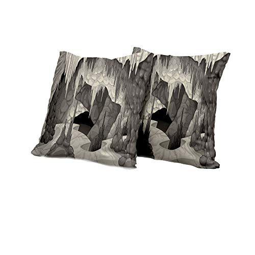 All of better Body Pillowcase Cave,Inside The Cavern with Stalagmites Speleology Theme Cartoon Style Grotto in Greyscale,Pearl Grey Pillow Covers 16x16 INCH 2pcs