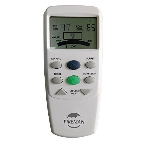 PIKEMAN Ventilador de Techo Mando a Distancia Repuesto Hampton Bay termostático LCD W Ventilador Temporizador FAN-9T L3HFAN9T, 9TR, Blanco