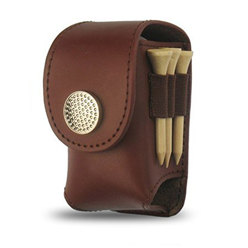 Golf Ball Holder Pouch Bag - Cool Style Golf Tee Bag Pouch (Brown)