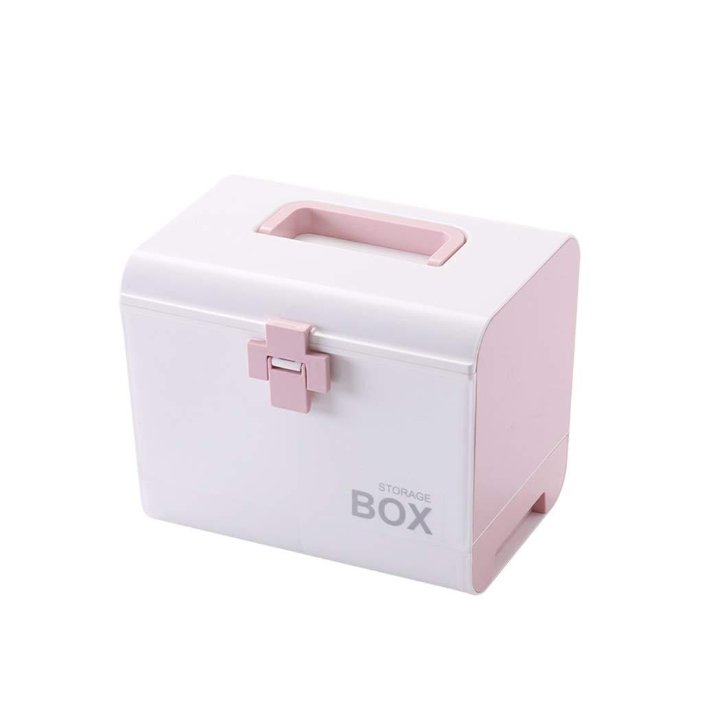 YBJPshop 応急処置キット 小さいキュービクル、緊急のキャビネットの貯蔵の丸薬容器箱が付いている救急処置の場合の医学の容器 携帯用救急箱、旅行、家庭用品 (Color : ピンク) ピンク