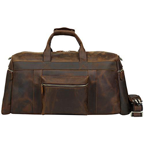 GLJJQMY レトロクレイジーホースレザービジネスメンズトラベルバッグレザー荷物袋大容量トートバッグ トラベルバッグ (Color : Dark Brown6) B07MMMG6BJ Dark Brown6