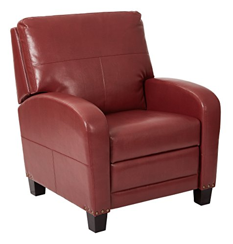 INSPIRED by Bassett Wellington Bonded Leather Recliner with Antique Bronze Nailhead Accents, - Bassett Furniture Leather