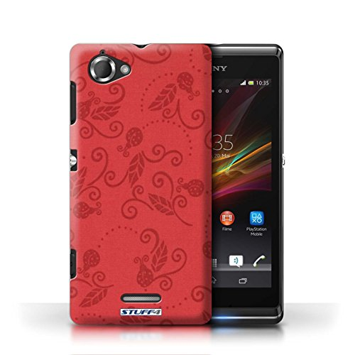 Etui / Coque pour Sony Xperia L/C2105 / Rouge conception / Collection de Motif Coccinelle