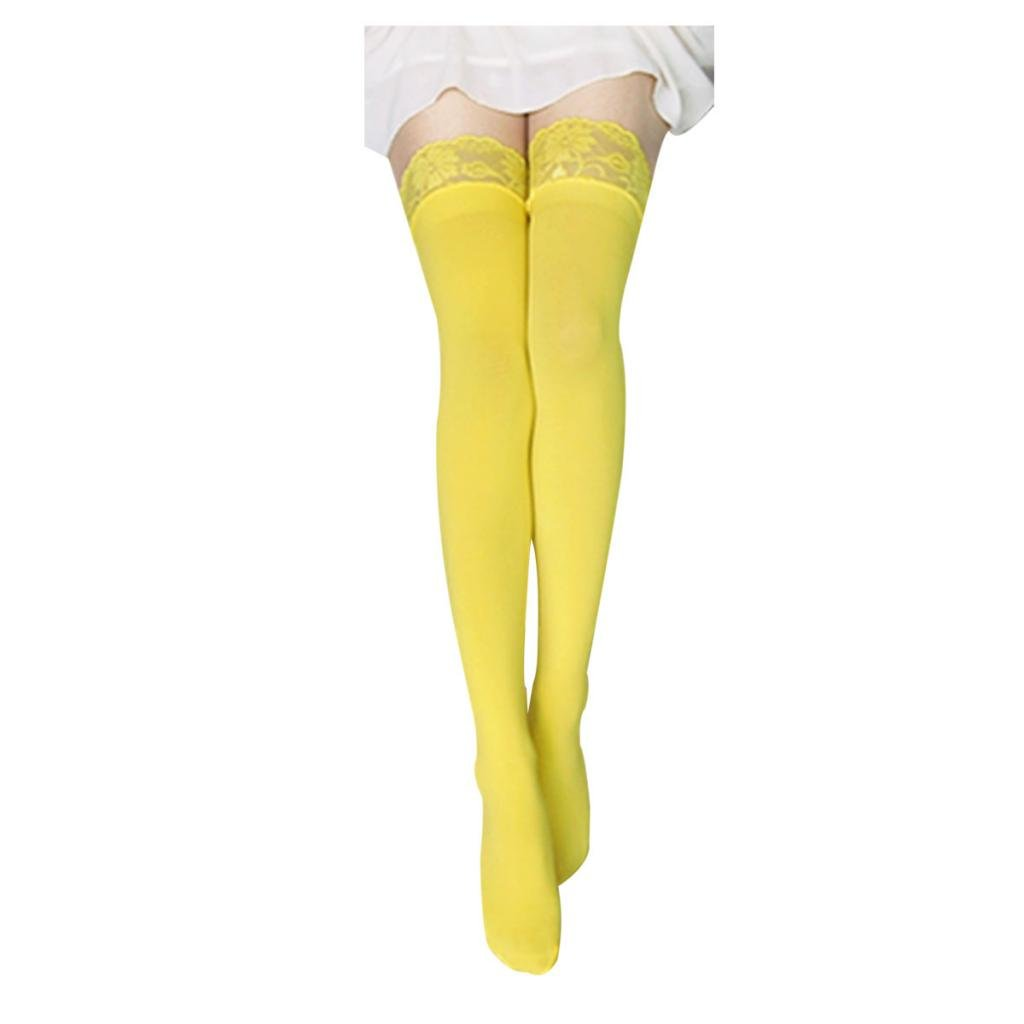 71fa94db4ab FUNOC Fashion New Sexy Women Lace Top Opaque Thigh High Stockings   Amazon.co.uk  Clothing