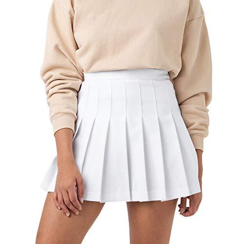 YILEEGOO Women Girls Short High Waist Pleated Skater Tennis Skirt School Skirt with Lining Shorts