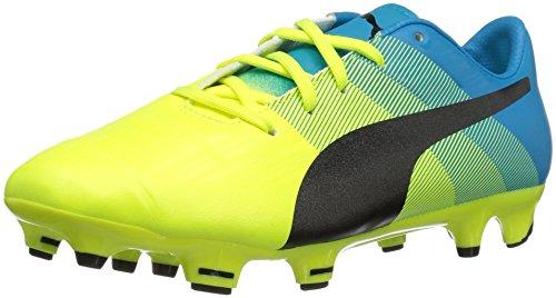 PUMA Evopower 1.3 FG Jr Skate Shoe Safety Yellow-Black-Atomic Blue 4.5 M US Big Kid