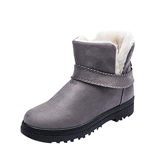 Gyoume Women Winter Slip On Boots Ankle Boots Keep Warm Boots Shoes Flat Snow Short Boots Round Toe ()
