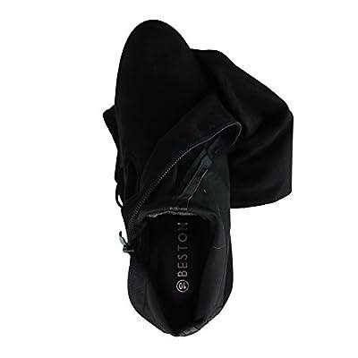 Beston FF01 Women's Stretchy Thigh High Snug Fit Chunky Block Heel Boots
