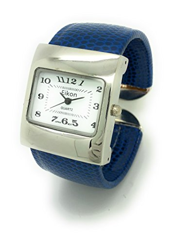 (Ladies Snakeskin Leather Bangle Cuff Watch Square Case White Dial Eikon (Navy Blue))