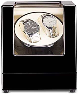 QHY 自動ワインディングマシーン 2腕時計用ウォッチワインダー PUレザー 場合 超静音回転ジュエリーウォッチボックスバッテリーまたACアダプター (Color : E)