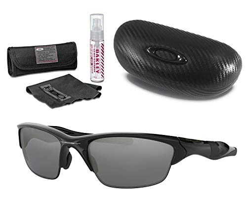 Oakley Half Jacket 2.0 Sunglasses (Polished Black Frame, Black Iridium Lens) with Lens Cleaning Kit and Ellipse O Carbonfiber Hard ()