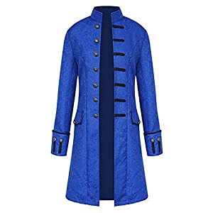 AIEOE Men's Steampunk Jackets Gothic Cosplay Tailcoat Long Sleeve Medieval Costume Jackets