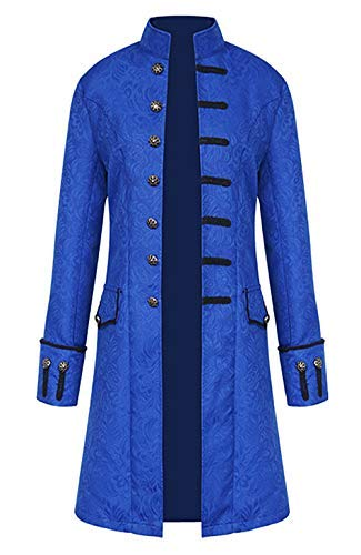 AIEOE Men Gothic Cosplay Steampunk Tailcoat Long Sleeve Victorian Medieval Costume Jackets for Cosplay